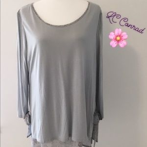 LC Lauren Conrad Gray Tunic Top with Side Bows XL
